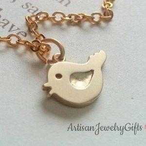 16K Gold Bird Necklace Minimalist Necklace